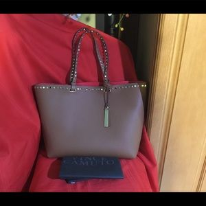 Vince Camuto brown studs leather brand new tote